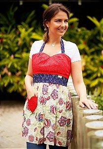 Avental Juliette Floral Vermelho e Azul Marinho