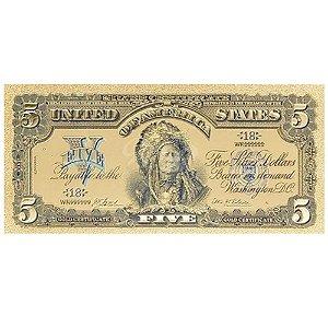 Cédula 5 Dolares Índio 1899 Dourada - Linda