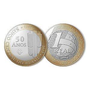Moeda Comemorativa dos 50 anos do Banco Central 2015 - Flor de Cunho