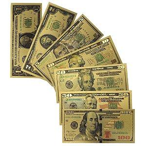 Cédulas de Dolar Douradas Kit com 07 Unidades - Réplica Em Nylon