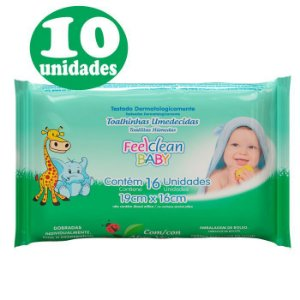 10 Pacotes Feelclean Baby com 16 unidades