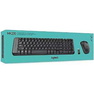 Teclado e Mouse sem fio Logitech MK220 Conexão USB, Pilhas Inclusas e Layout ABNT2
