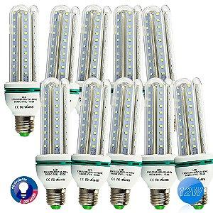 Kit Com 10 Lâmpadas Led Super Econômica E27 12w 6500k