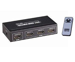 Chaveador Switch Hdmi 3 X 1 Com Controle Remoto - Migtech