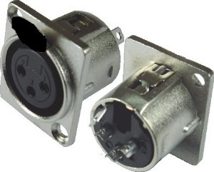 Conector Xlr 3 Pinos Para Painel Sem Trava