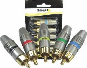 Plug Rca Profissional 6mm Blindado Blister 5 Peças