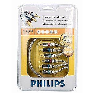Cabo Vídeo Componente Conector Ouro 24K Vcr Hdtv Philips 1.5 Metros