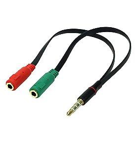 Cabo P3 Macho Para P2 Fone E Microfone femea Headset Flat