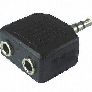 Adaptador Plug p2 Estereo x 2 Jack p2 femea