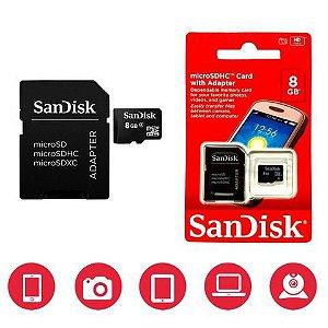 Cartão De Memória 8gb Sandisk Micro Sd 8 Gb Sdhc Com Adaptador