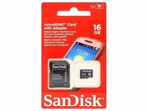 Cartão De Memória 16gb Micro Sdhc Classe 4 Sandisk com Adaptador