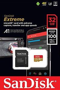 Cartão de Memória Sandisk Micro Sd Extreme Classe 10 32gb