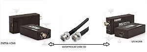 Kit Extensor HDMI via Cabo SDI  com 60 metros + Conversor HDMI/SDI e SDI/HDMI