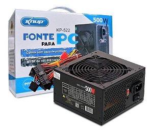 Fonte para computador Atx 500w Real Knup Kp-522