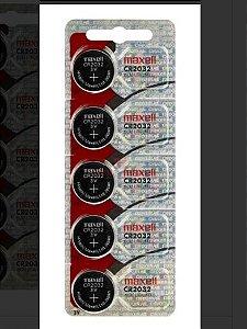 Cartela 5 Pilhas Baterias Cr2032 3v Maxell - Original