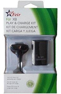 Bateria + Carregador Para Xbox 360 - 12.000mah - Feir