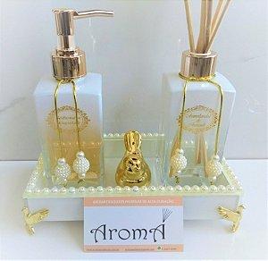 Kit luxo lavabo pérolas Pássaros Dourados - Capim limão