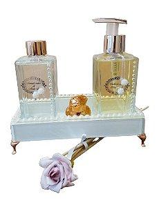 Kit luxo lavabo rosé gold lavanda