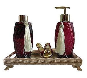 Kit Luxo Lavabo Marsala e Dourado Lavanda