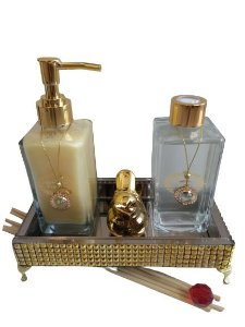 Kit luxo lavabo bronze e dourado capim limão