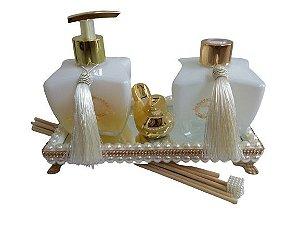 Kit Super Luxo Lavabo Branco e Dourado Capim Limão