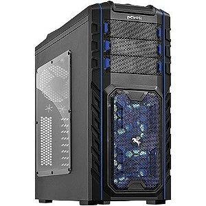 Gabinete Mid Tower PCYES Pegasus Preto e Azul C/ Acrílico e USB 3.0