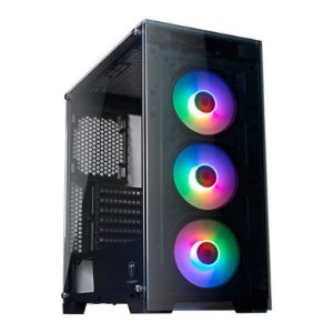 Gabinete ATX Gamer C/ Frente e Tampa Lateral em Vidro, USB 3.0 Frontal, 3 Coolers RGB + Controle Remoto