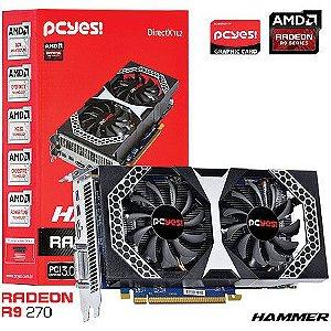 Placa de Vídeo AMD Radeon R9 270 Hammer Dual Fan 2gb DDR5 - 256 Bits H270QMT2G2M PCYES