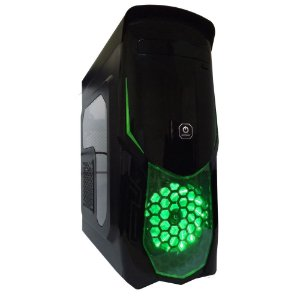 Gabinete ATX Gamer One Power Hermes Preto e Verde C/ Acrílico Lateral e USB 3.0 Frontal
