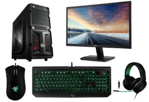 PC Gamer Super Completo Intel Core I5 Skylake, 8gb DDR4, HD 1.5TB, Geforce GTX 1050TI OC 4gb, Monitor LED 27, Kit Razer