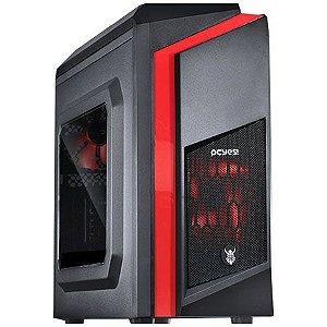 Gabinete ATX Gamer PCYES DWARF Preto C/ LED Vermelho, Acrílico Lateral e USB 3.0
