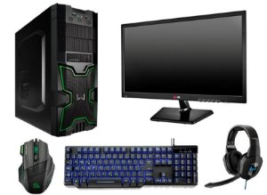 PC Gamer Completo AMD FX 6300, 8gb DDR3, HD 1TB, Geforce GTX 1050, Monitor LED 19.5, Acessórios Gamers