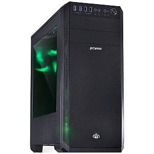Gabinete ATX Gamer PCYES KNIGHT Preto C/ LED Verde, Lateral de Acrílico e USB 3.0 Frontal KNIPTOVD3FCA