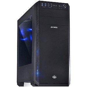 Gabinete ATX Gamer PCYES KNIGHT Preto C/ LED Azul, Lateral de Acrílico e USB 3.0 Frontal KNIPTOAZ3FCA