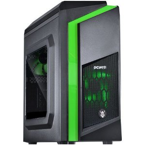 Gabinete ATX Gamer PCYES DWARF Preto C/ LED Verde, Acrílico Lateral e USB 3.0