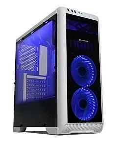 Gabinete ATX Gamer Mymax TORNADO Branco C/ LED Azul, Acrílico Lateral e USB 3.0 Frontal