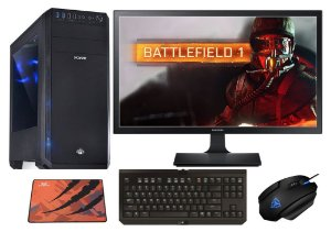 PC Gamer Completo AMD FX 8350, 16gb DDR3, SSD 240gb, HD 2TB, AMD Radeon RX 480 8gb, Teclado Razer, Monitor LED 21.5
