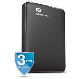 HD Externo Portátil 1 Tera USB 3.0 Western Digital Elements WDBUZG0010BBK