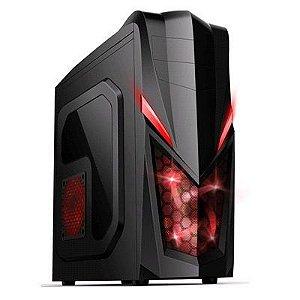 Gabinete ATX Gamer Mymax NEW SHARK Preto C/ LED Vermelho, Tampa de Acrílico e USB 3.0 Frontal MCA-FC-E29A