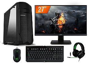 PC Gamer Super Completo AMD FX 6300, 8gb DDR3, SSD 240gb, Geforce GTX 1050TI 4gb, LED 27 POL, Kit Razer