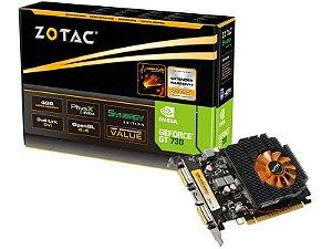 Placa de Vídeo Geforce GT 730 - 4gb DDR3 - 128 Bits ZOTAC ZT-71109-10L