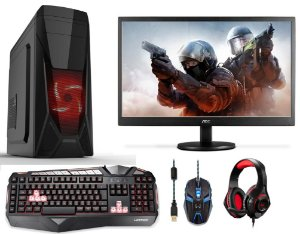 PC Gamer Completo Intel Pentium G4560, 4gb DDR4, SSD 120gb, Geforce GT 730 4gb, Monitor LED 18,5, Teclado, Mouse e Headset Gamer