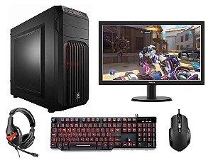 PC Gamer Super Completo Intel Core I5 Kaby Lake 7400, 8gb DDR4, HD 1 Tera, Geforce GTX 1050TI SC 4gb, Monitor LED 21.5, Teclado e Mouse Gamer