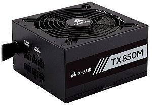 Fonte ATX 850 Watts Reais Semi Modular C/ PFC Ativo CORSAIR TX850M CP-9020130-WW - 80% Plus GOLD
