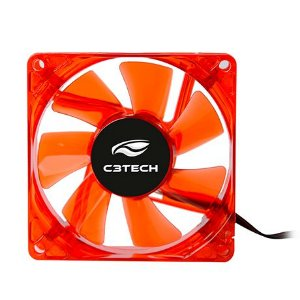 Cooler FAN 80M X 80M 2200 RPM LED VERMELHO C3 TECH F7-L50RD
