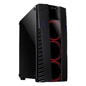 Gabinete ATX Gamer Mymax Eclipse Preto C/ 3 Coolers Ring LED Vermelho, Tampa de Vidro e USB 3.0 Frontal - MCA-FC-EC09A/RD