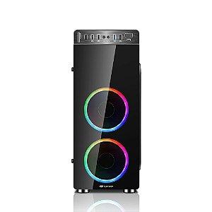 Gabinete ATX Gamer C3 TECH MT-G1000BK C/ 3 USB Frontais, Tampa Lateral em Vidro e 2 Coolers RGB