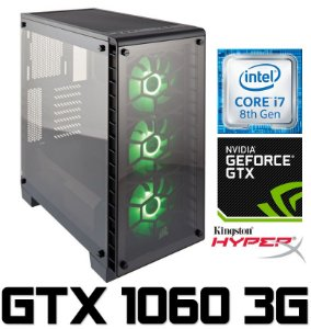 PC Gamer Intel Core I7 Coffee Lake 8700, 8GB DDR4, HD 1 Tera, Geforce GTX 1060 3GB
