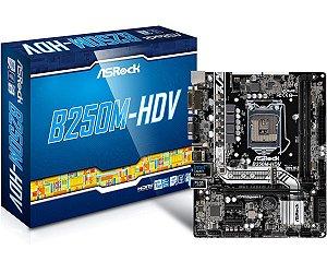 Placa-Mãe ASRock p/ Intel LGA 1151 mATX B250M-HDV DDR4