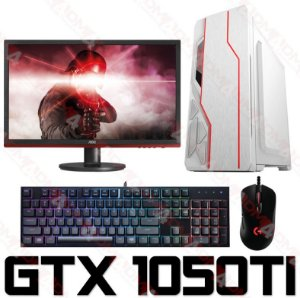 PC Gamer Completo Intel Core I3 Coffee Lake 8100, 8GB DDR4, HD 1 Tera, GPU Geforce GTX 1050TI OC 4GB, Monitor Gamer 75Hz 24 Polegadas, Teclado, Mouse e Headset Gamer
